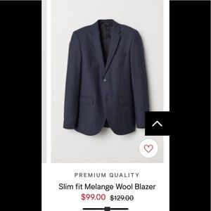 Men's Slim Fit  Italian Light Wool Blazer H&M